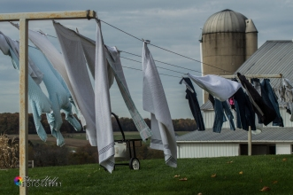 Amish farm with laundry out on the line